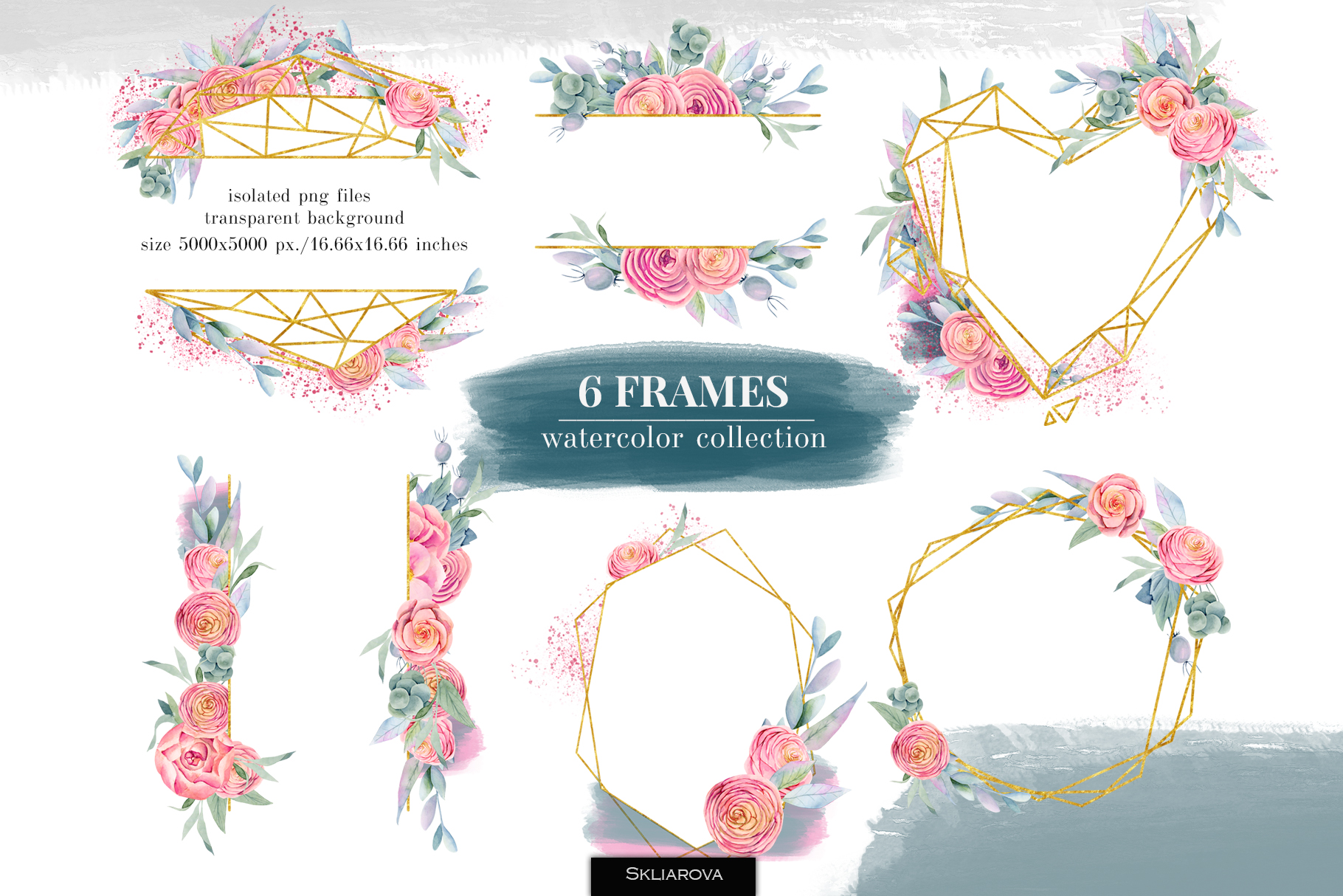 6 Frames, Floral boxes watercolor col. example image 1