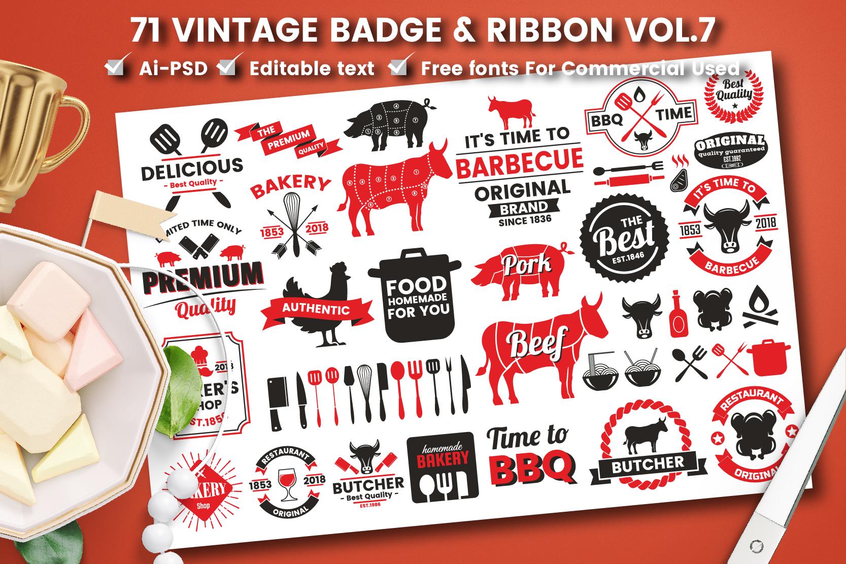 71 VINTAGE BADGE & RIBBON Vol.7 example image 1
