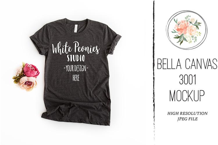 Heather Black Bella Canvas 3001 Shirt Mockup Feminine example image 1