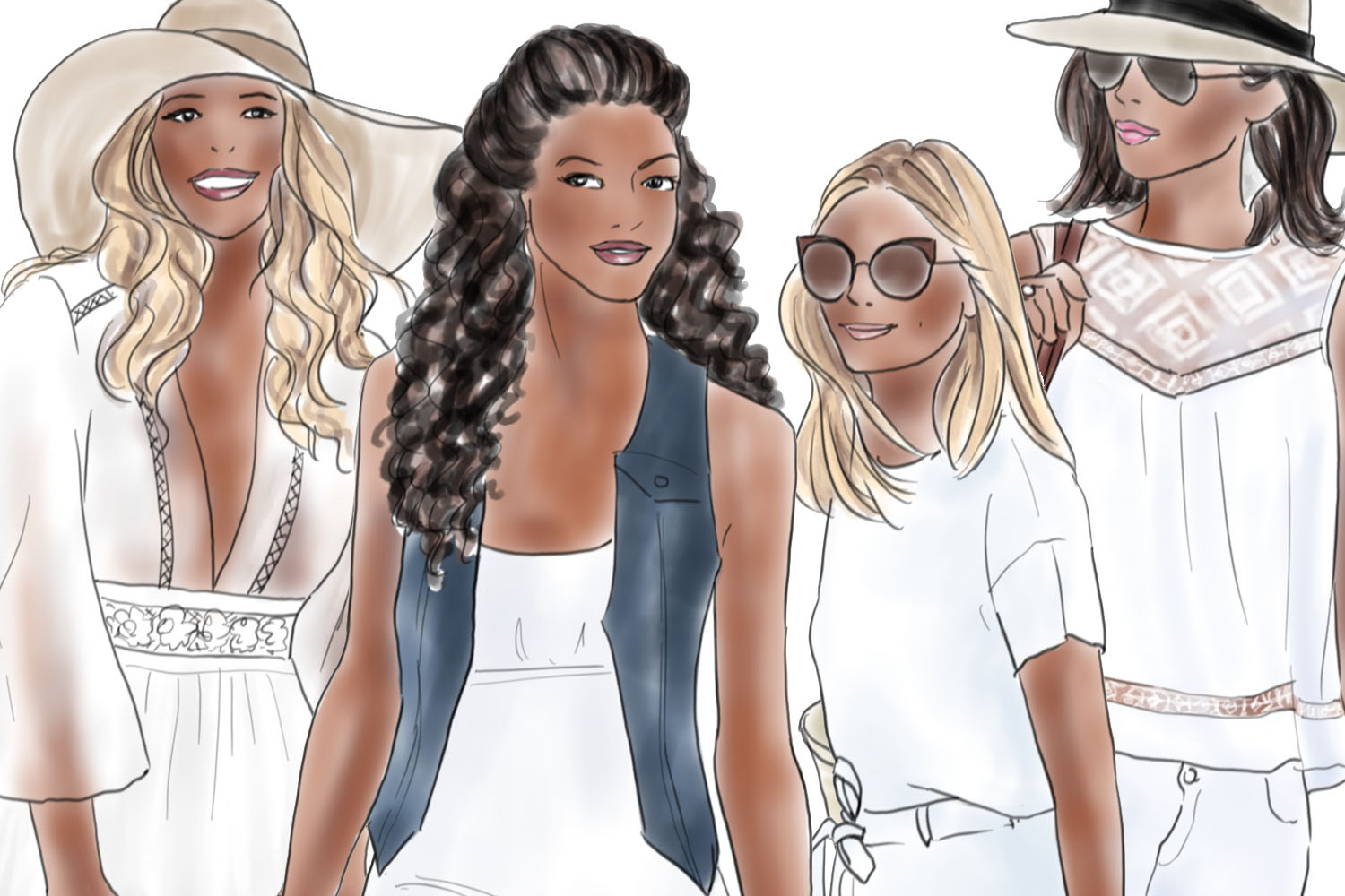 Fashion illustration clipart - Girls in summer white - Dark skin example image 3