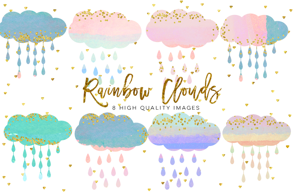 baby clouds clip art, Watercolor fluffy clouds and rain drops, digital papers, magical clipart, nursery art, children decor, whimsical example image 1