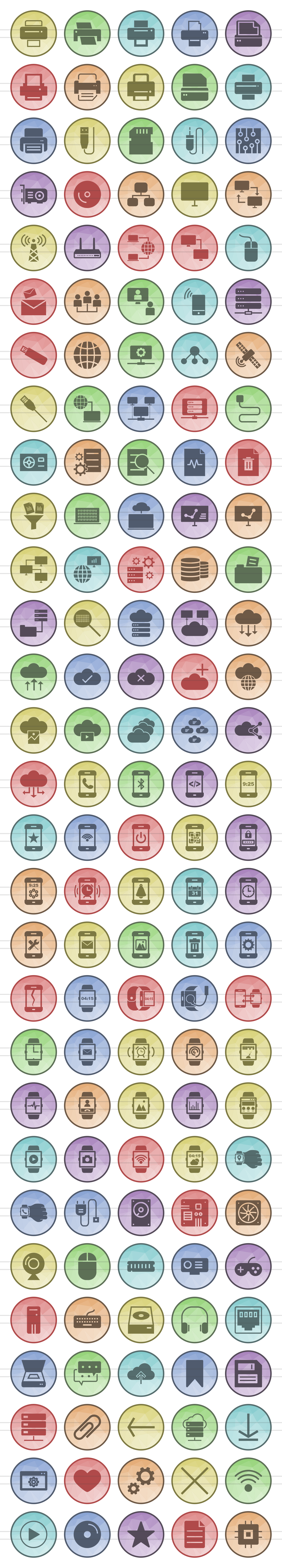 145 Hardware Filled Low Poly Icons example image 2