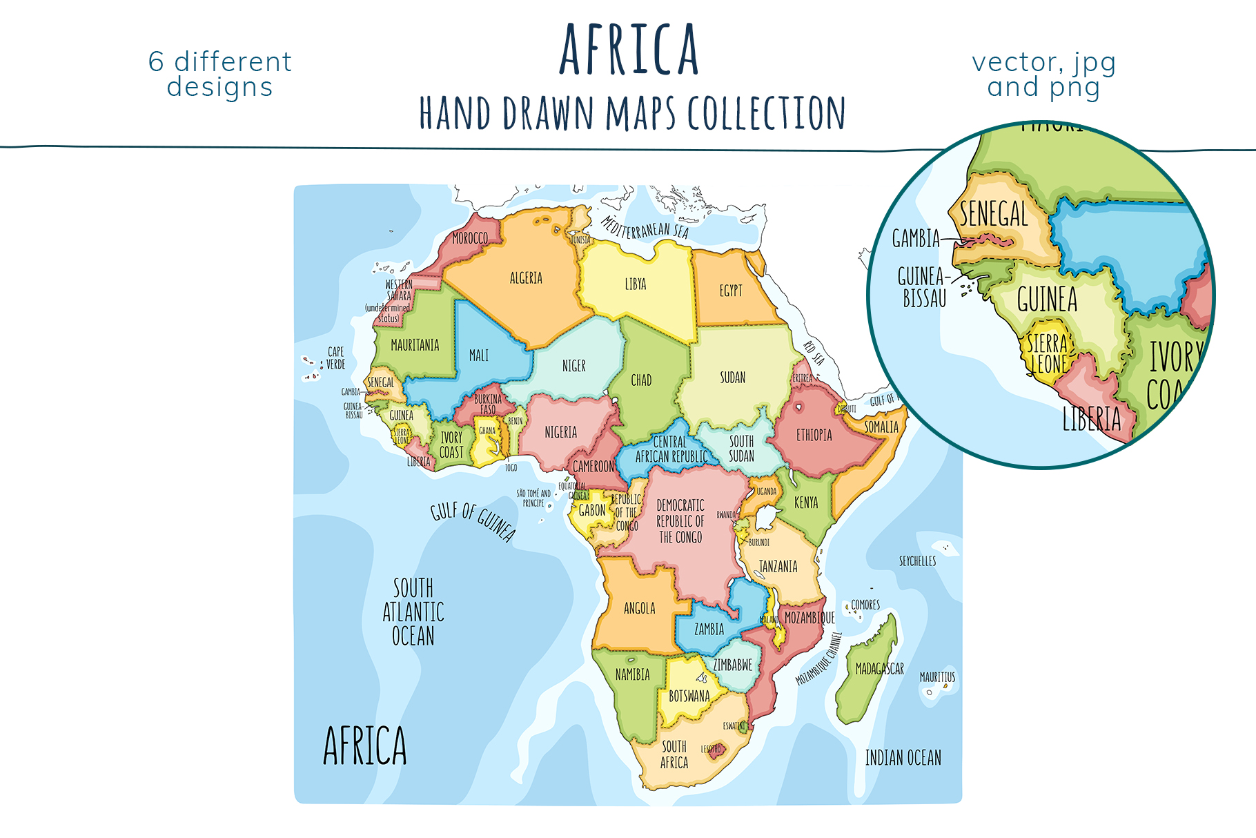 Maps of Africa. Hand drawn collection example image 2