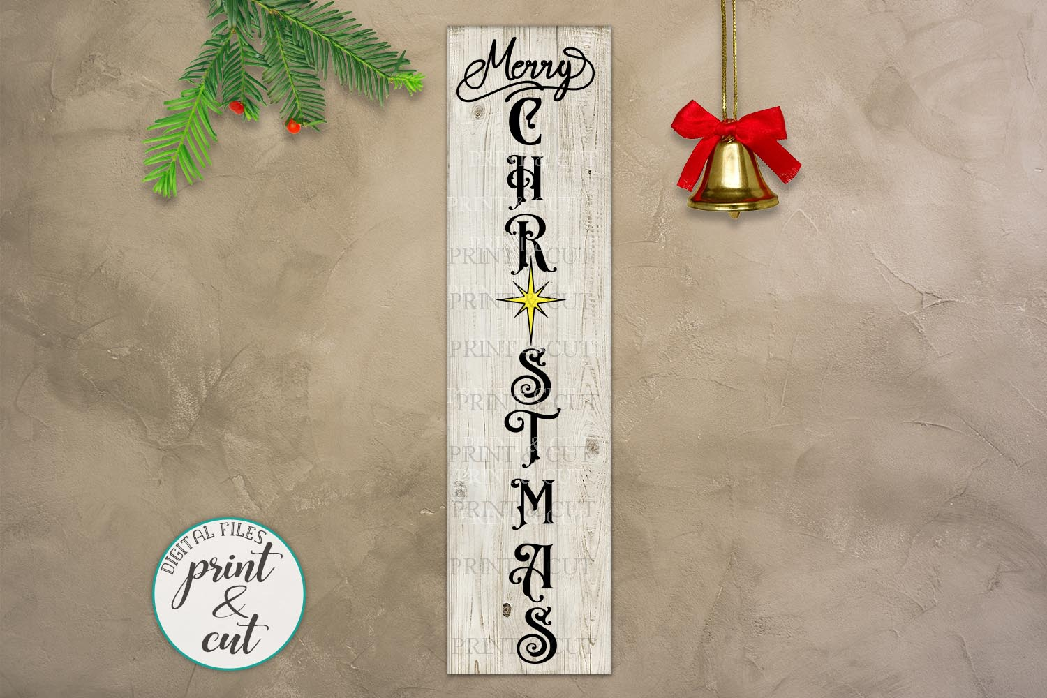 Merry Christmas Happy New Year Believe bundle vertical sign example image 3