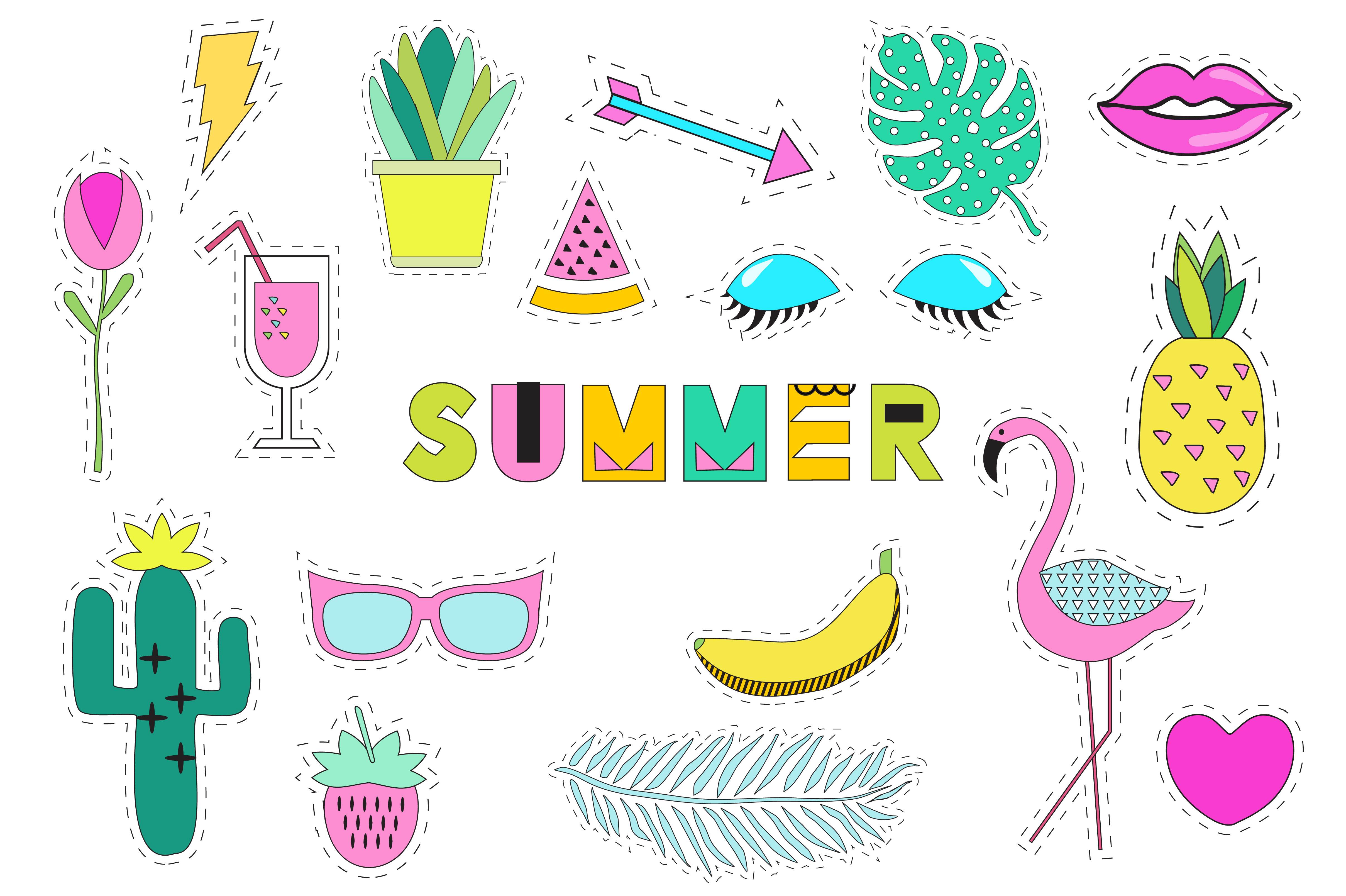 Summer Stickers Vector+ Png example image 2