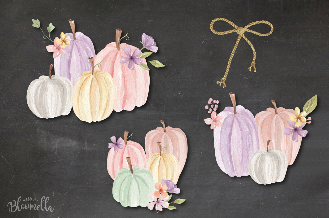 Fall Pumpkins Flowers 7 Bouquets Watercolor Florals Pastels example image 3