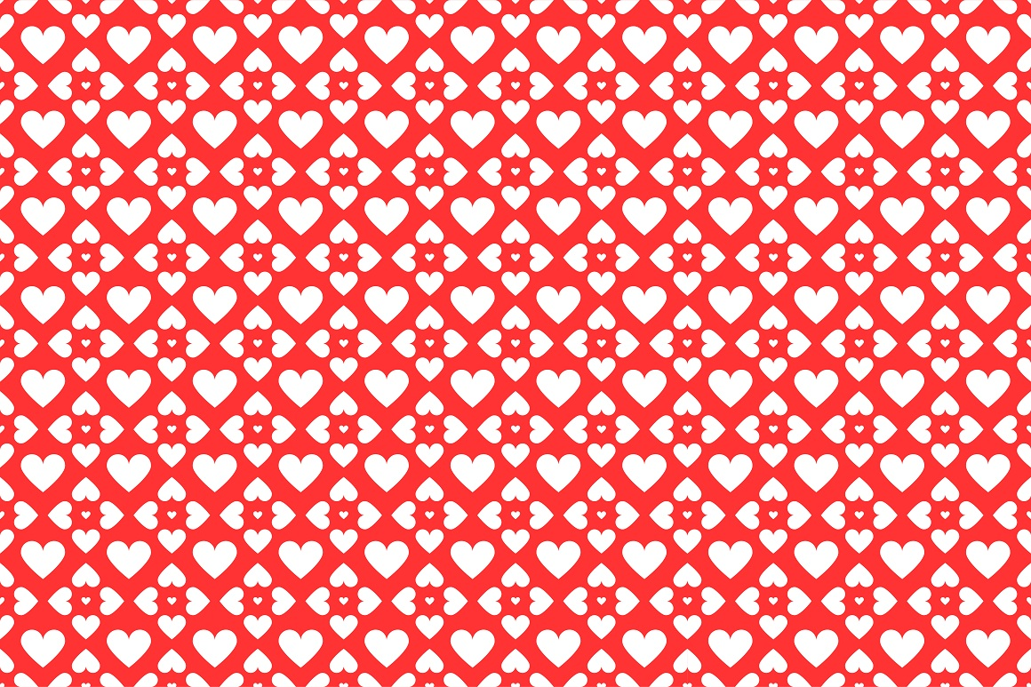 Set of seamless patterns with hearts example image 5