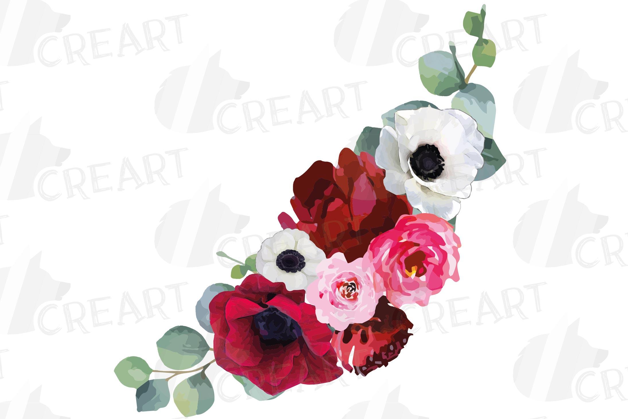 Watercolor elegant floral bouquets, rose, anemone decoration example image 6