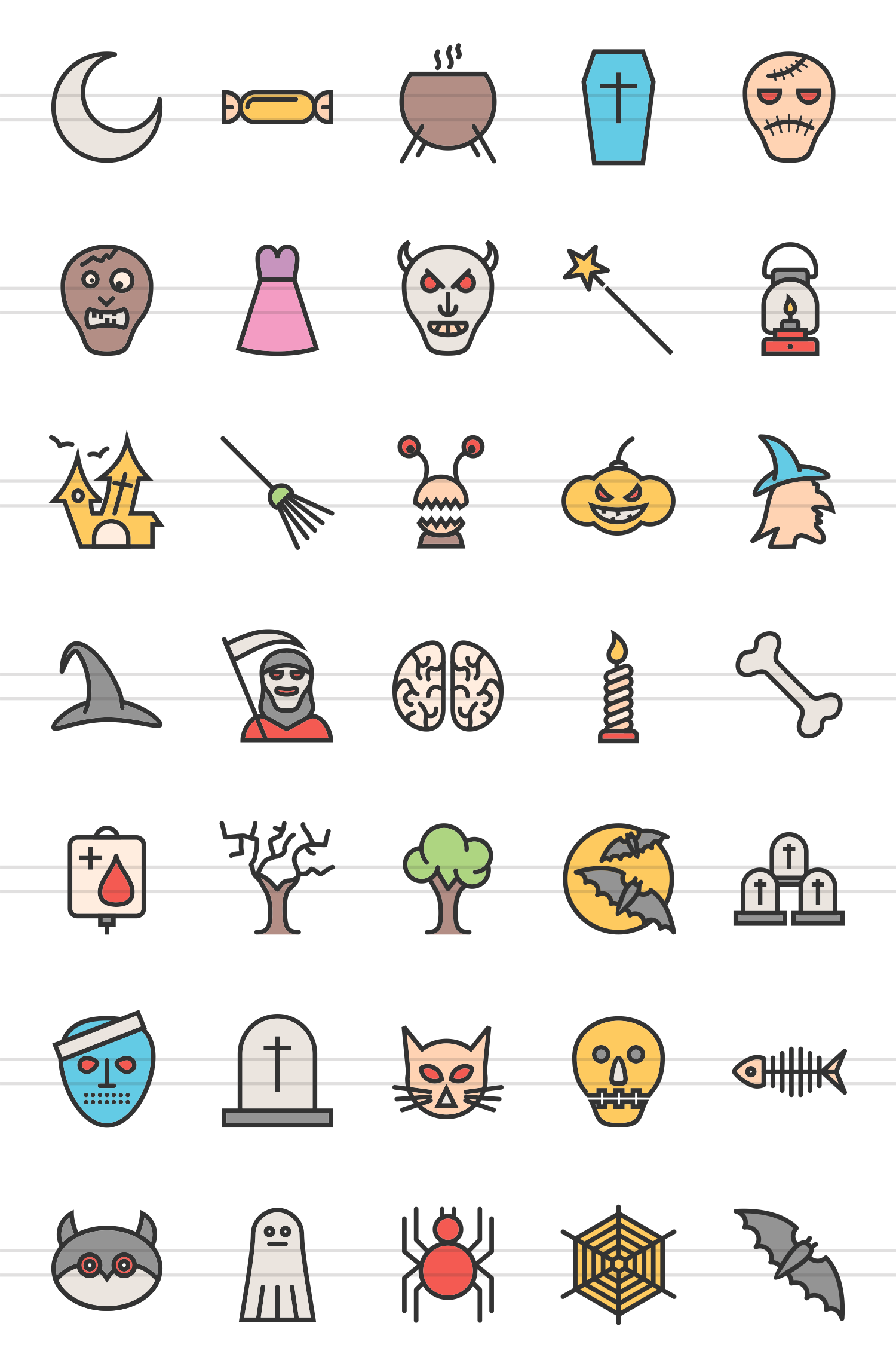 35 Halloween Linear Multicolor Icons example image 2