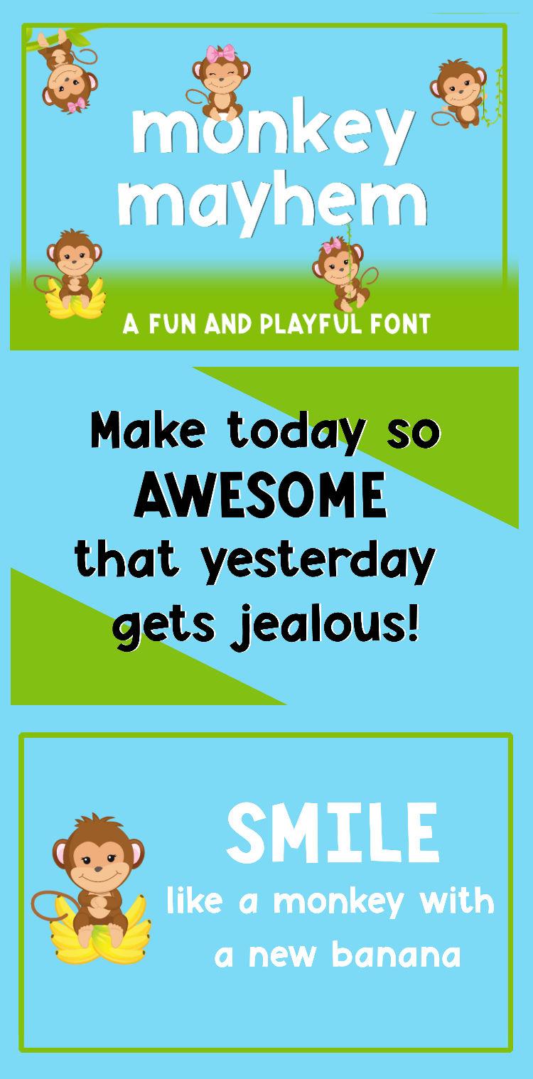 Monkey Mayhem - A fun and playful font example image 10