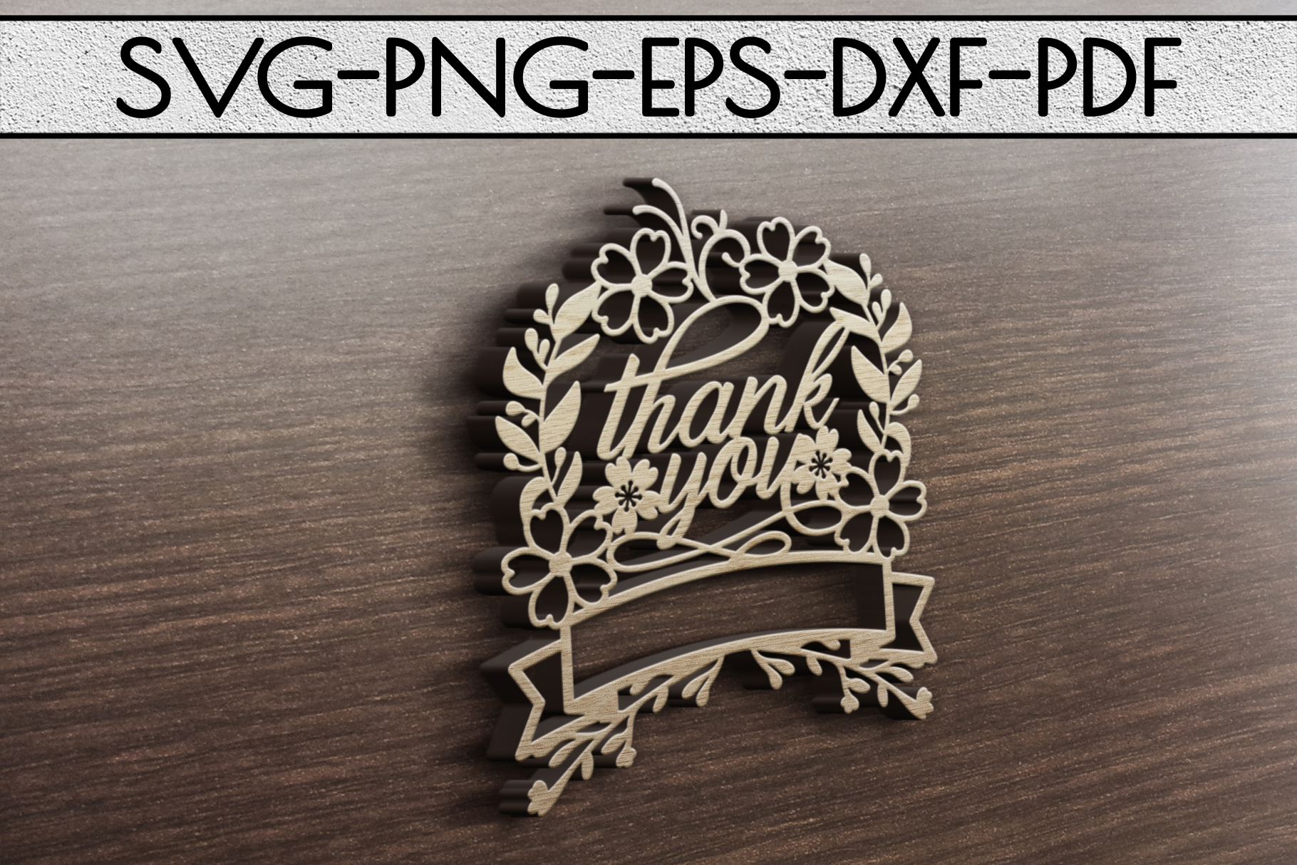 Thank You 8 Papercut Template, Customizable, SVG, PDF, DXF example image 3