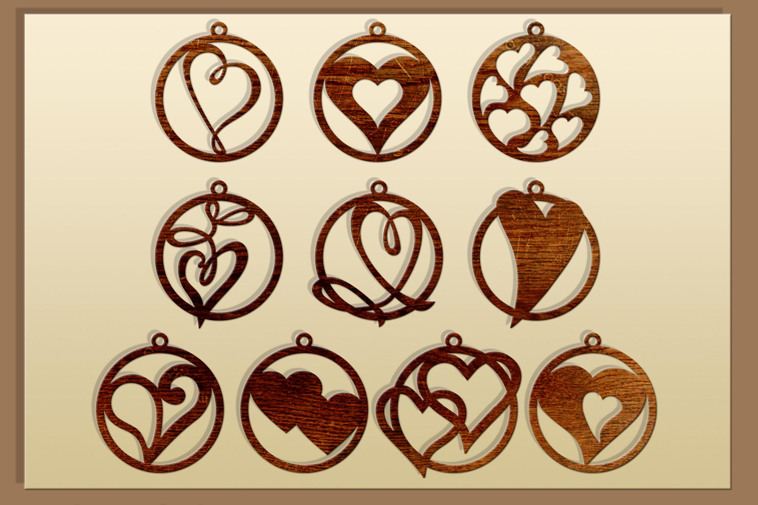 50 Leather earring bundle svg Valentine Love svg Heart example image 2