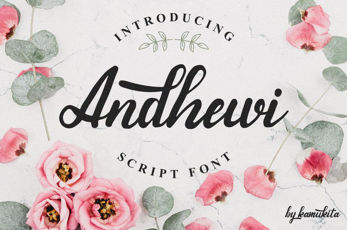 Andhewi Script Font example image 1