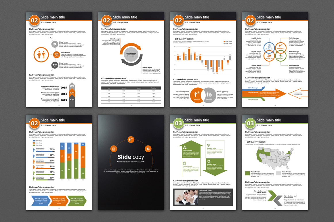 Five Color Powerpoint Template Vertical example image 3