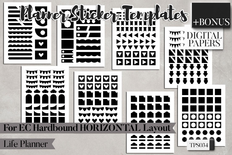 Planner sticker templates, Erin Condren Hardbound Horizontal example image 3