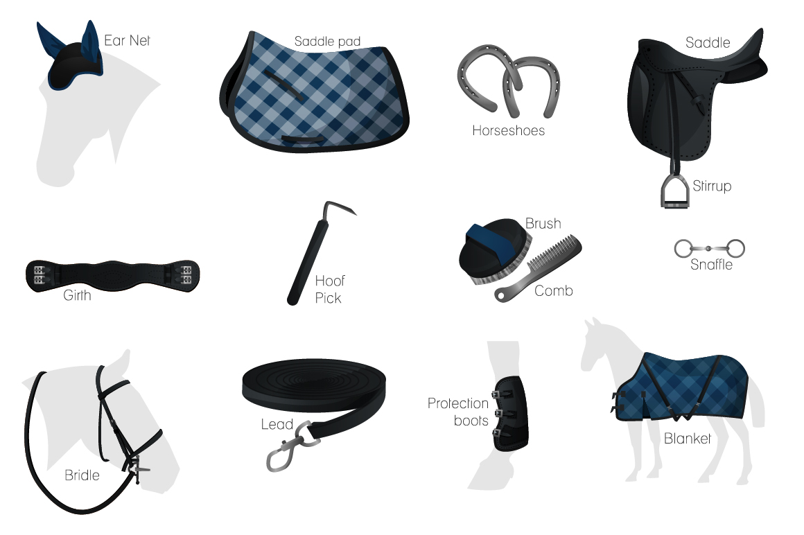Vector equestrian horse equipment 13 items in 2 color + bonus horse silhouettes and patterns example image 4