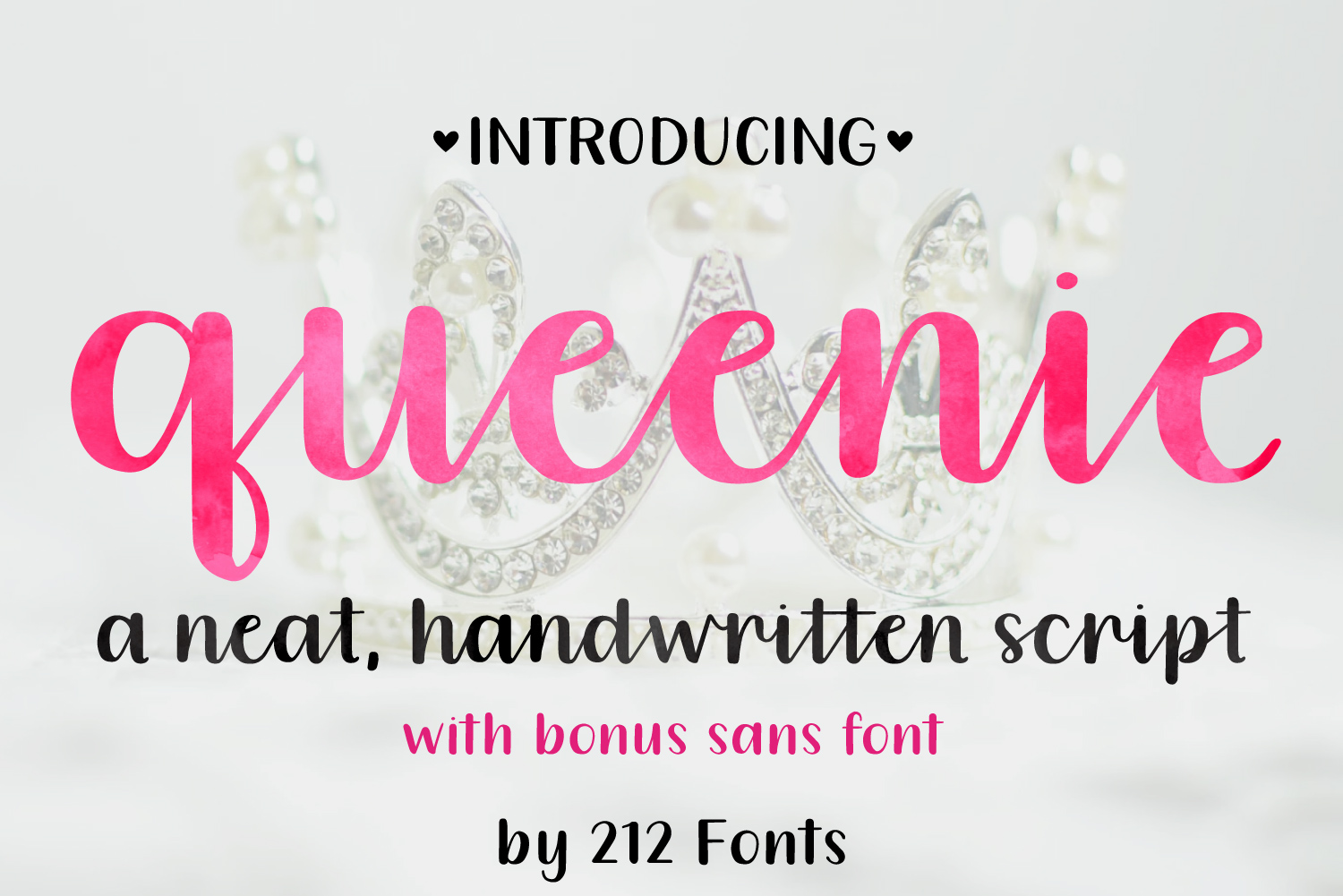 Queenie Font Family including Script, Sans, and Serif example image 1