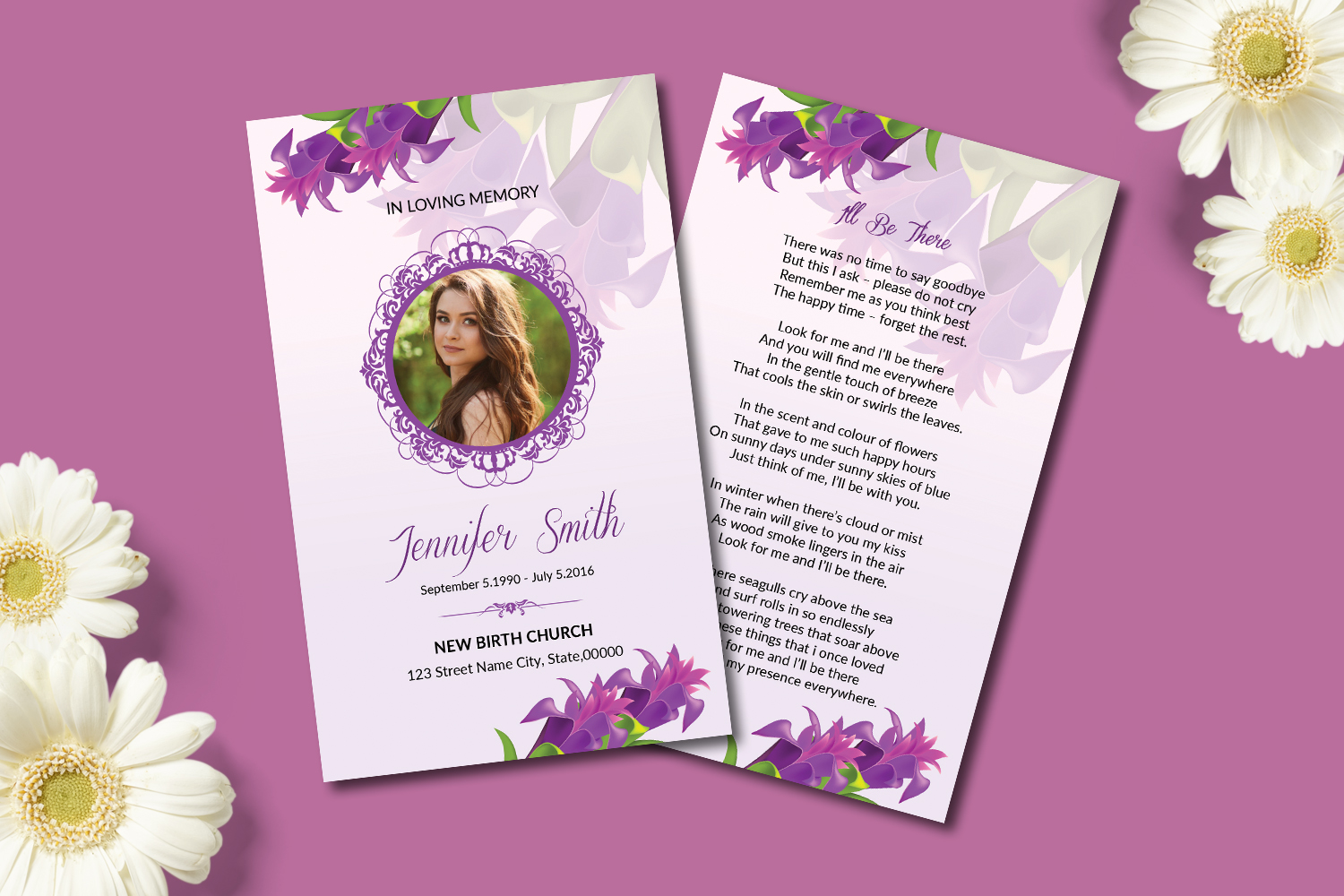 Funeral Prayer Card Template example image 3