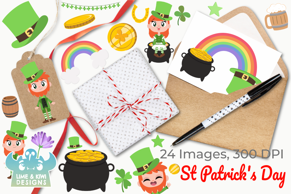 St Patrick's Day Clipart, Instant Download Vector Art example image 4