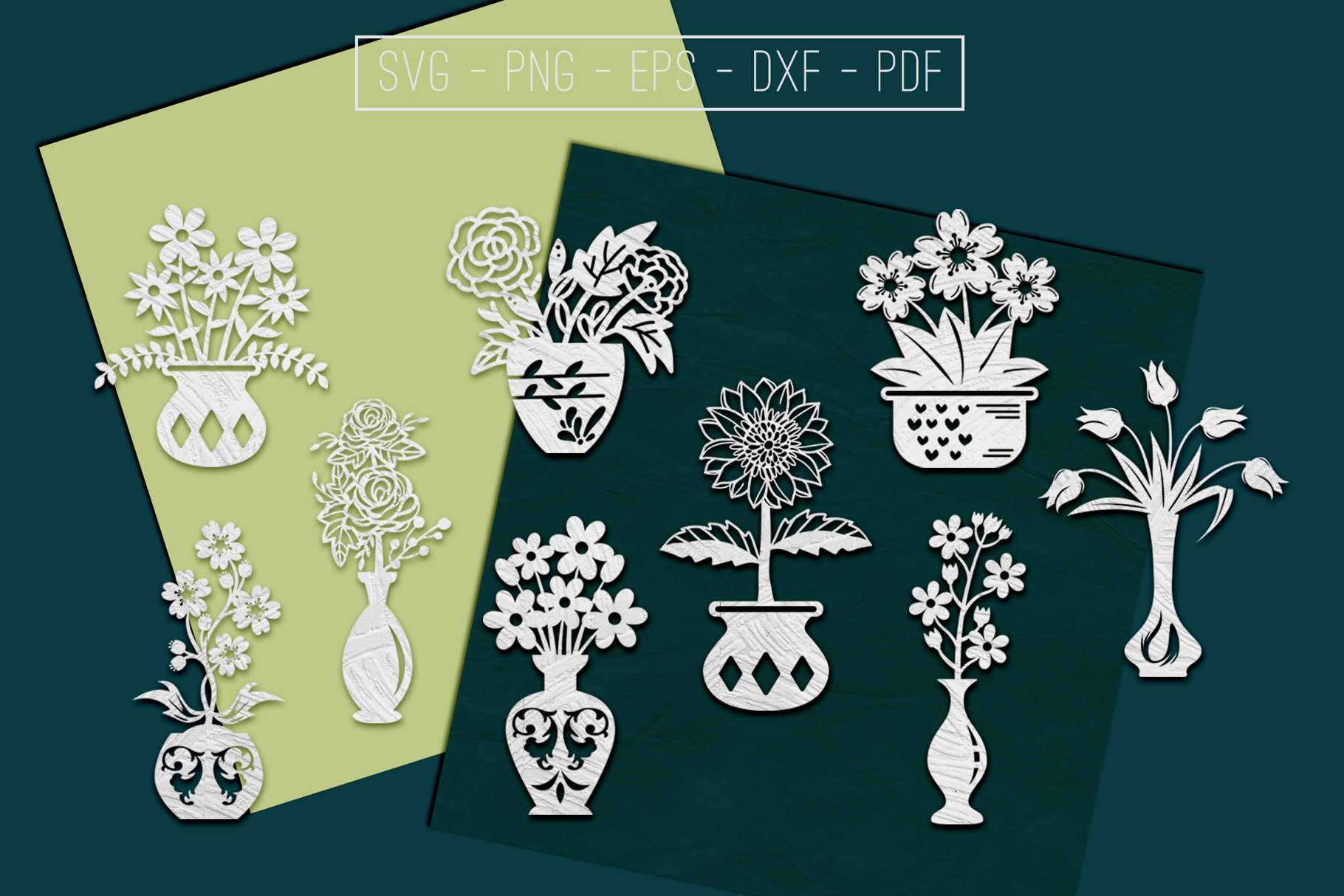 Flower In Vase Papercut Templates Bundle, Laser Vector SVG example image 1