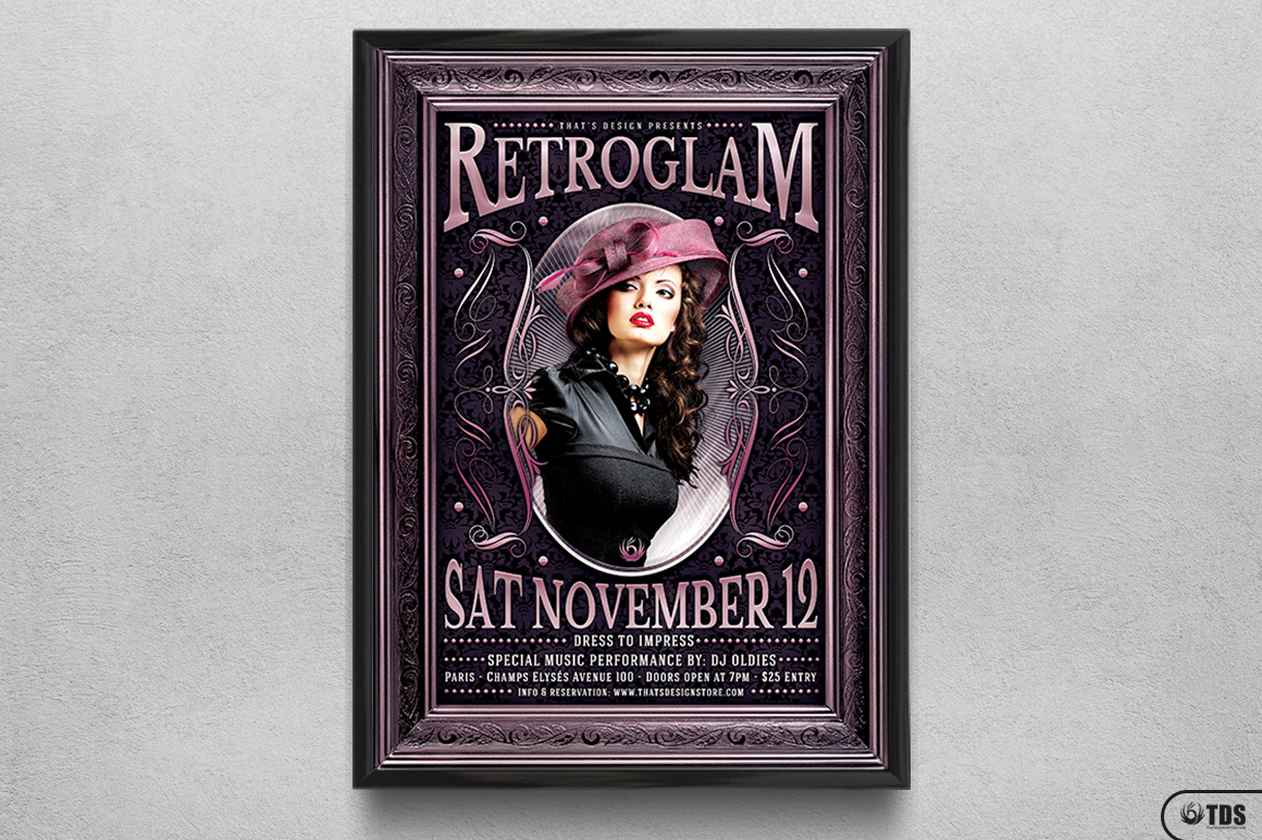 Retro Glam Flyer Template V3  example image 6