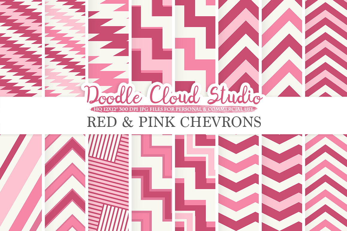 Red and Pink Chevron digital paper Purple Wine Chevron and Stripes pattern Zig Zag lines background for Personal & Commercial Use example image 1