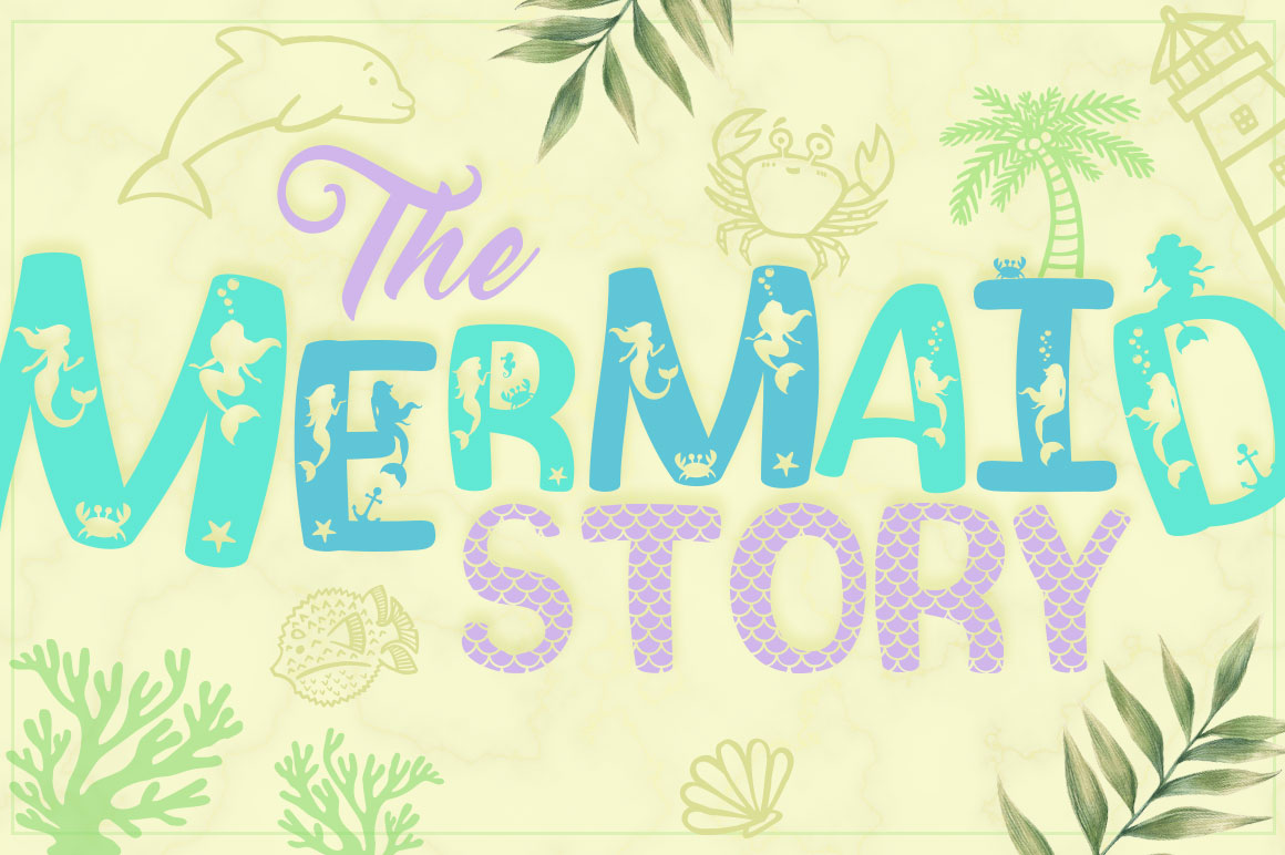 Mermaid Story & Mermaid Scales Font Duo with Bonus Extras example image 1