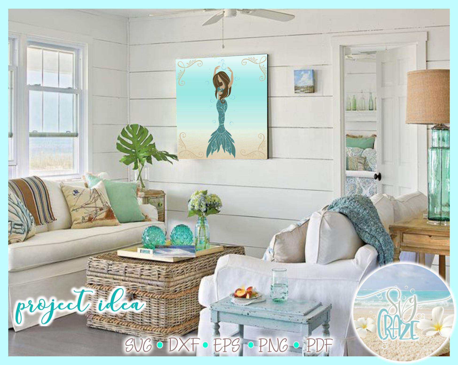 Mermaid Dance Ballet Mandala Zentangle SVG example image 2