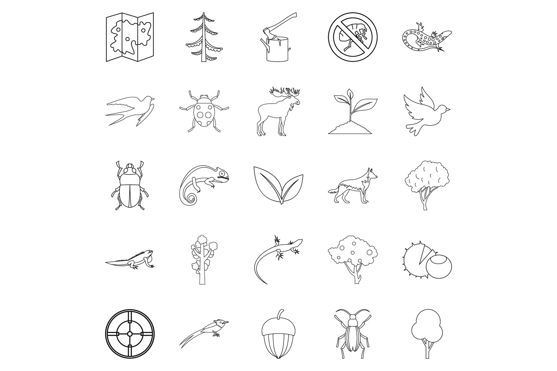 Locality icons set, outline style example image 1