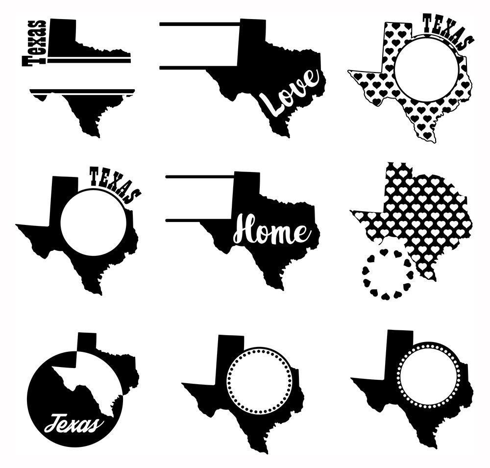 Texas Monograms SVG, JPG, PNG, DWG, CDR, EPS, AI example image 3
