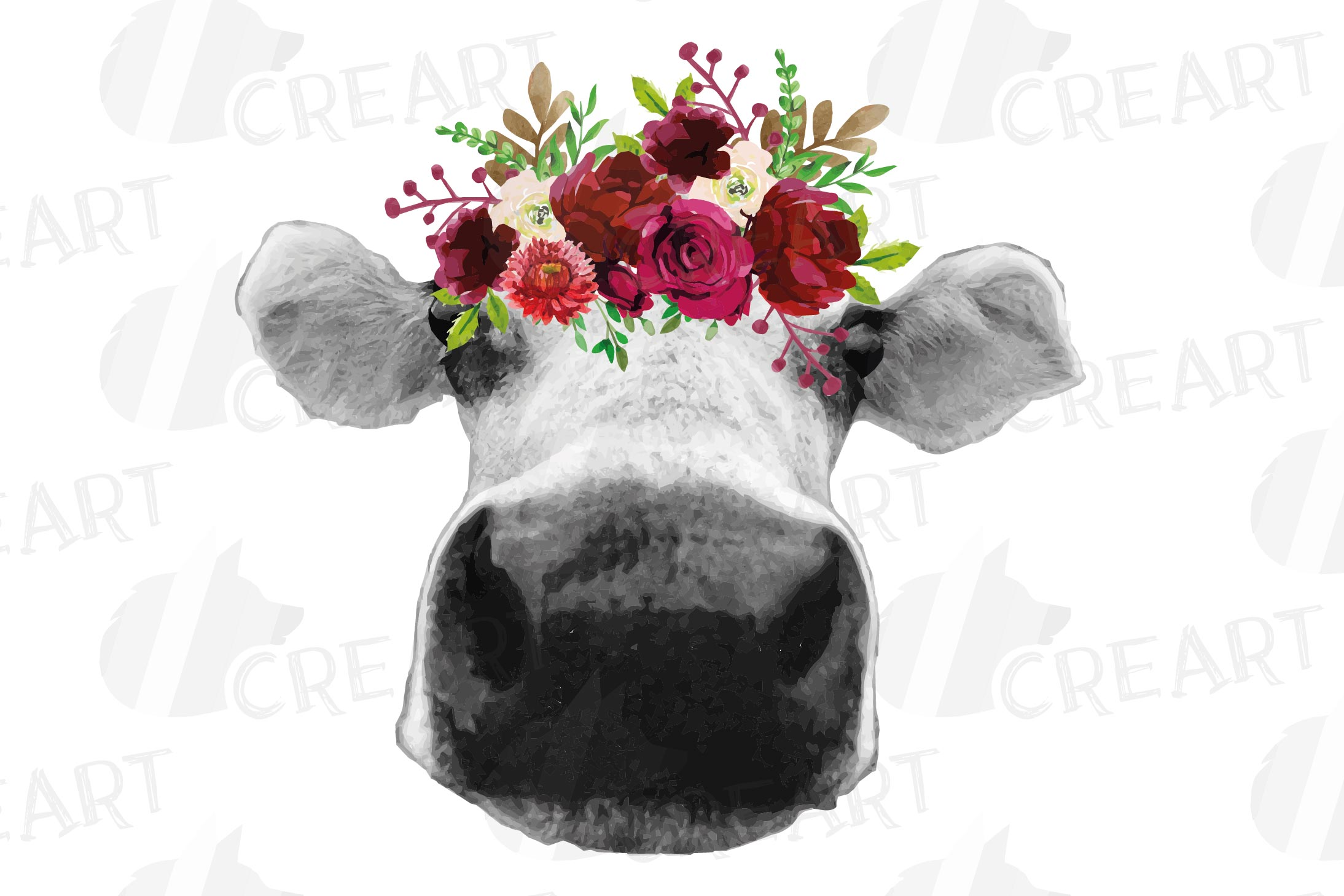 Not today Heifer printable floral burgundy decor, floral cow example image 17