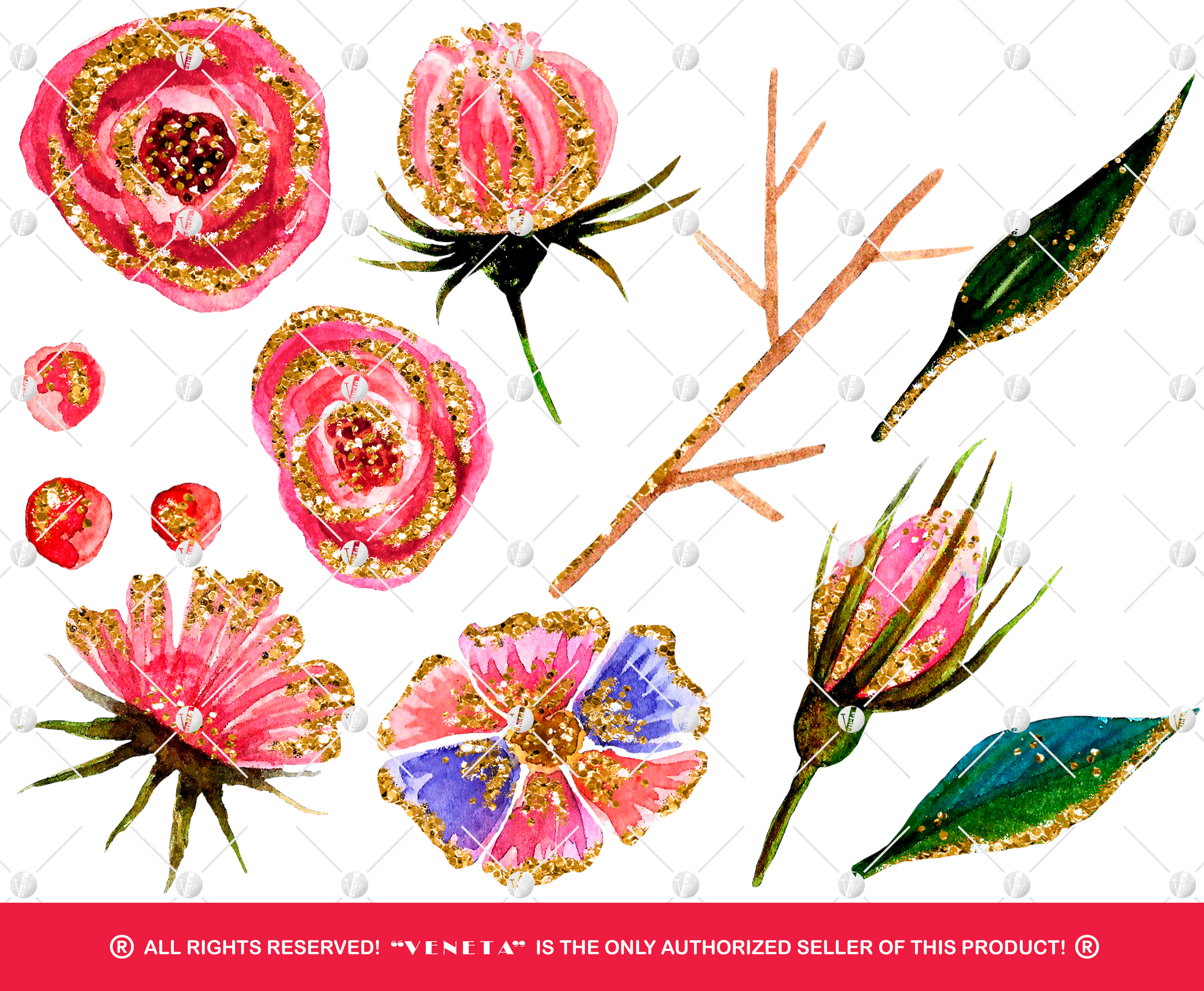 Watercolor Flowers Clipart Collection Printable Gold Glitter Pink