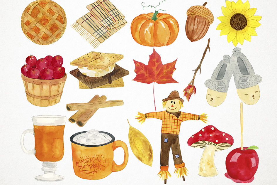 Watercolor Fall Clipart, Autumn Clipart, Harvest Clipart example image 2
