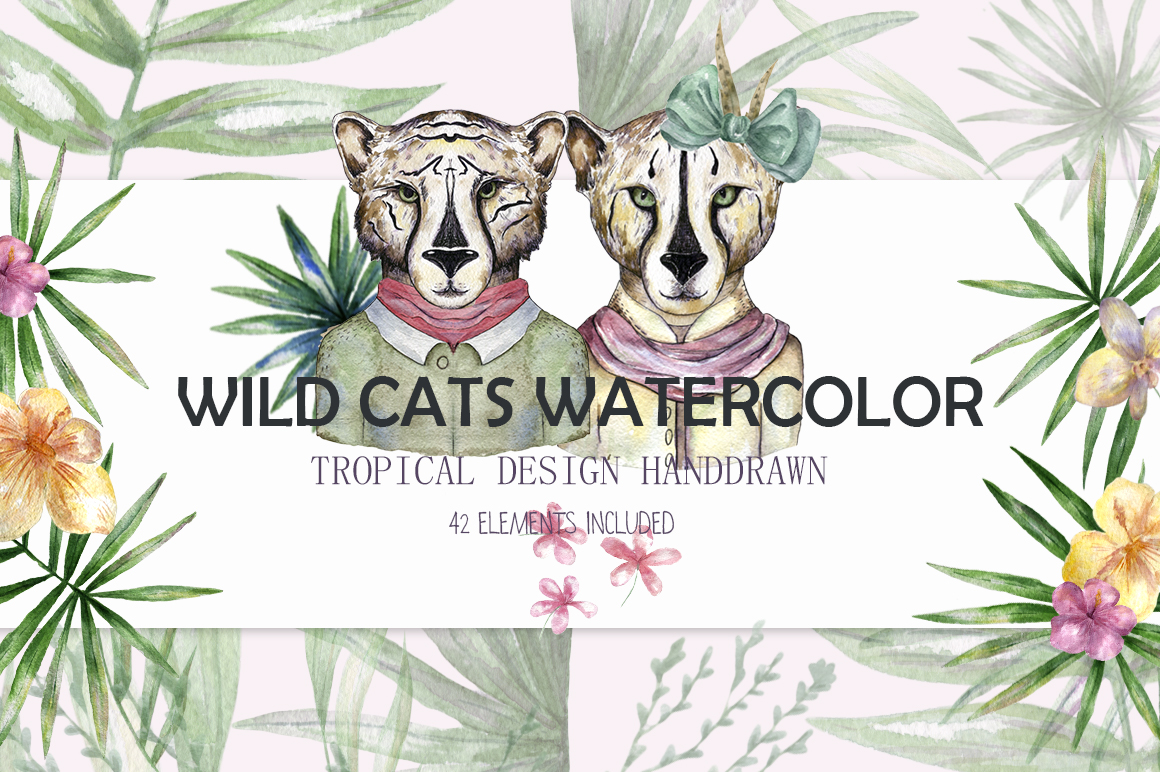 Wild Cats. Tropical watercolor example image 1