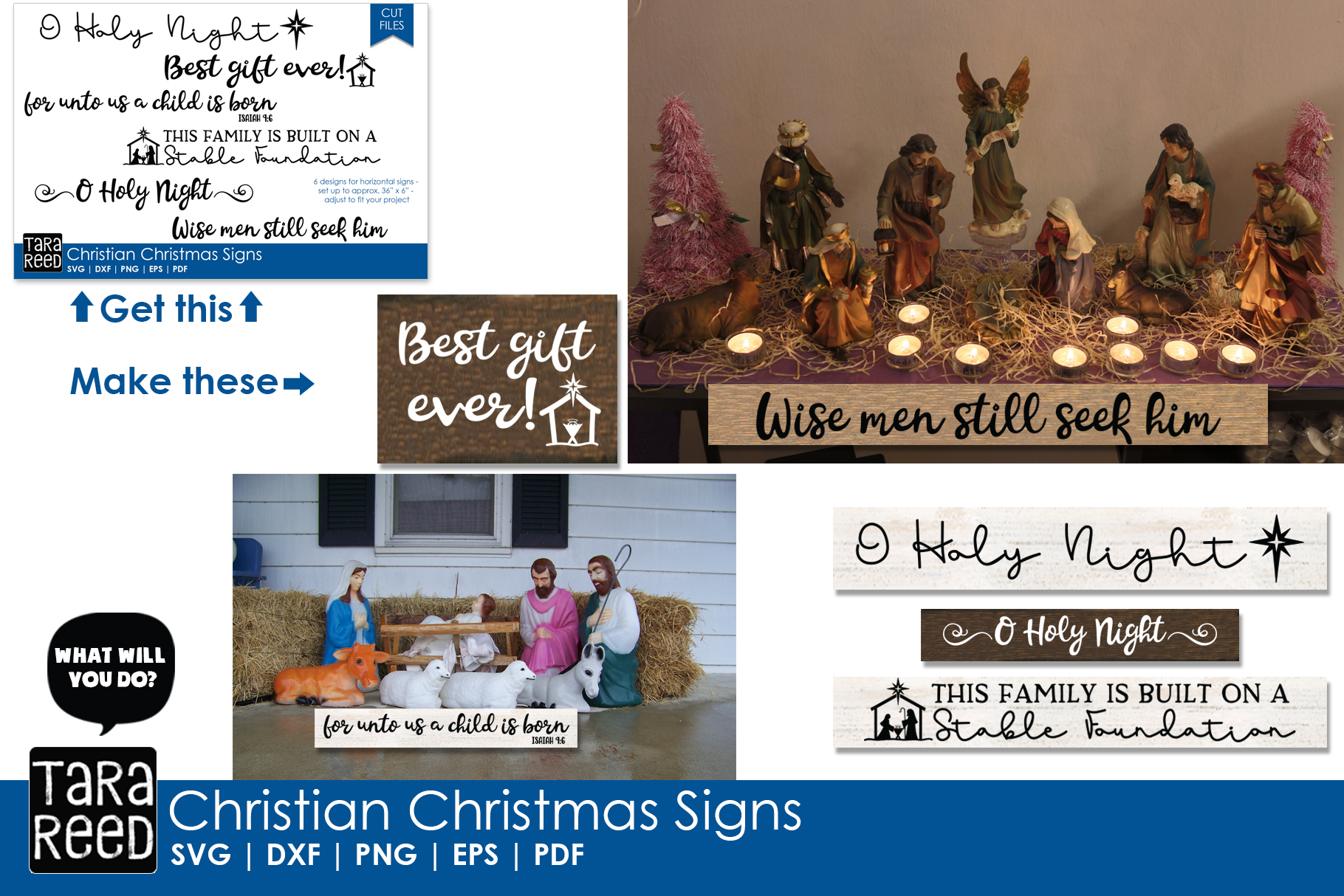 Christian Christmas MEGA Bundle - SVG Files for Crafters example image 3