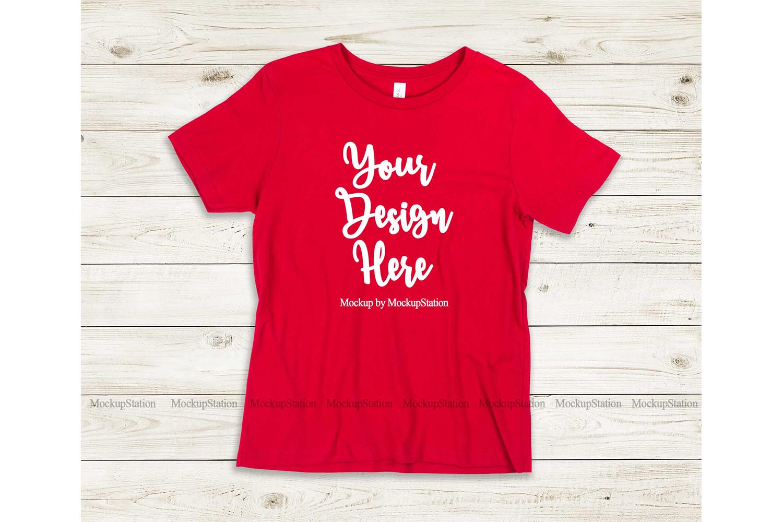 Kids Red Tshirt Mockup, Youth Shirt Bella Canvas 3001Y example image 1