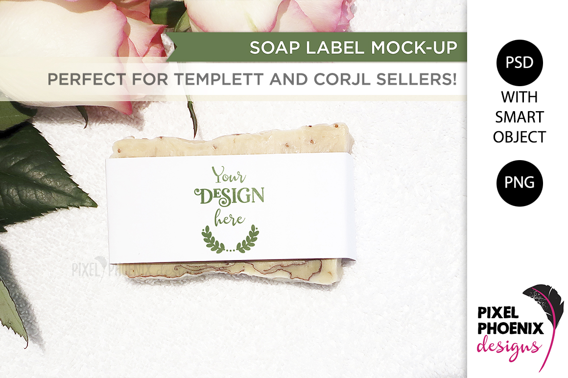 Soap Label Mockup with roses and leaves example image 2