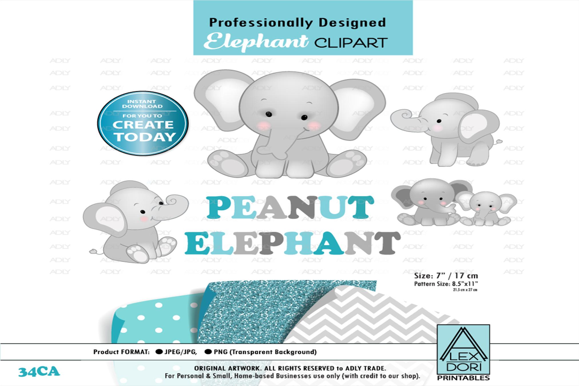 Peanut Baby elephant ,cute sitting pose,Clip Art,wall Art example image 1