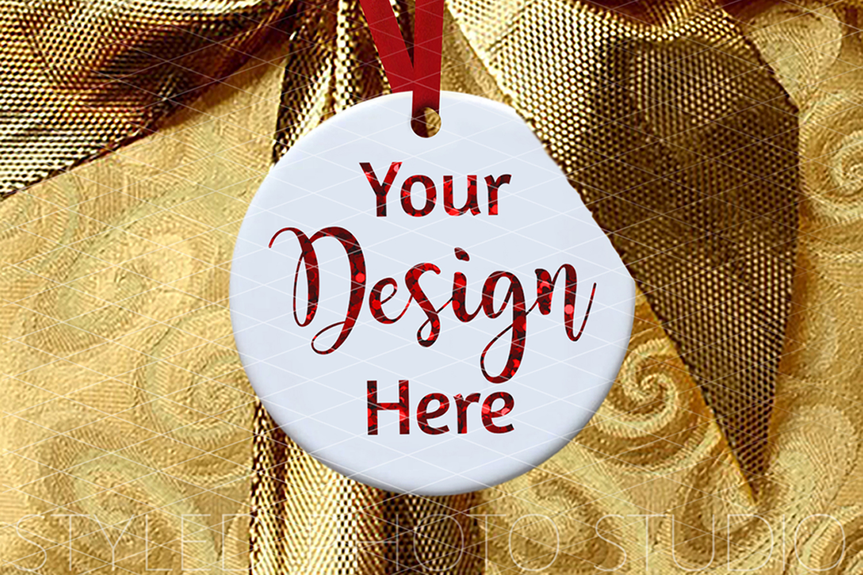 Round Ceramic Christmas Ornament Mockup Gold Ribbon example image 2