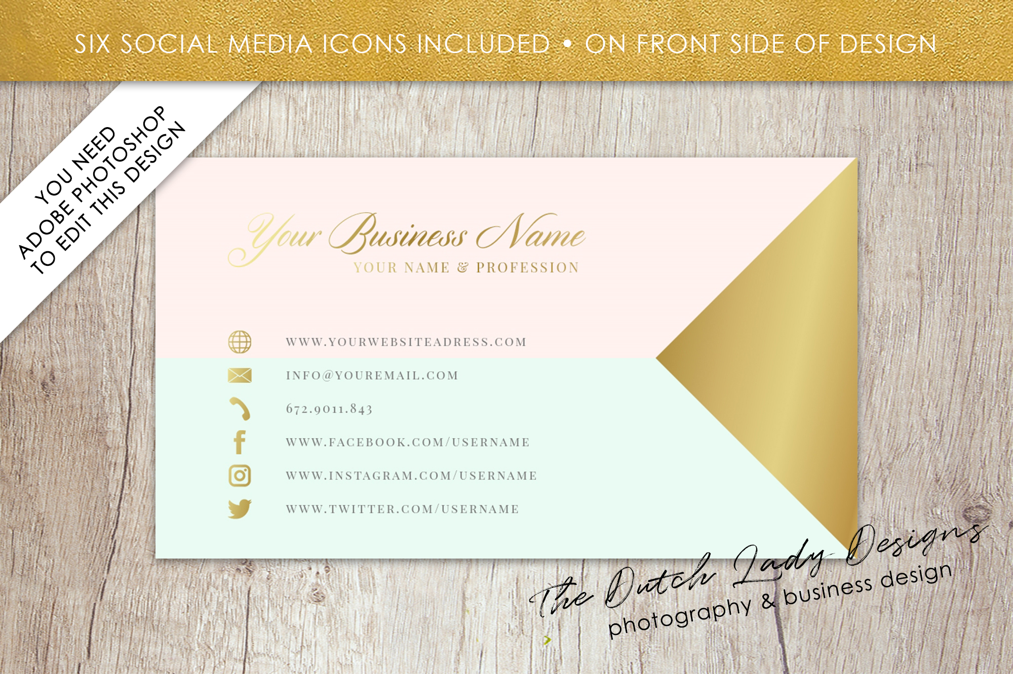 business card template for adobe photoshop  layered psd