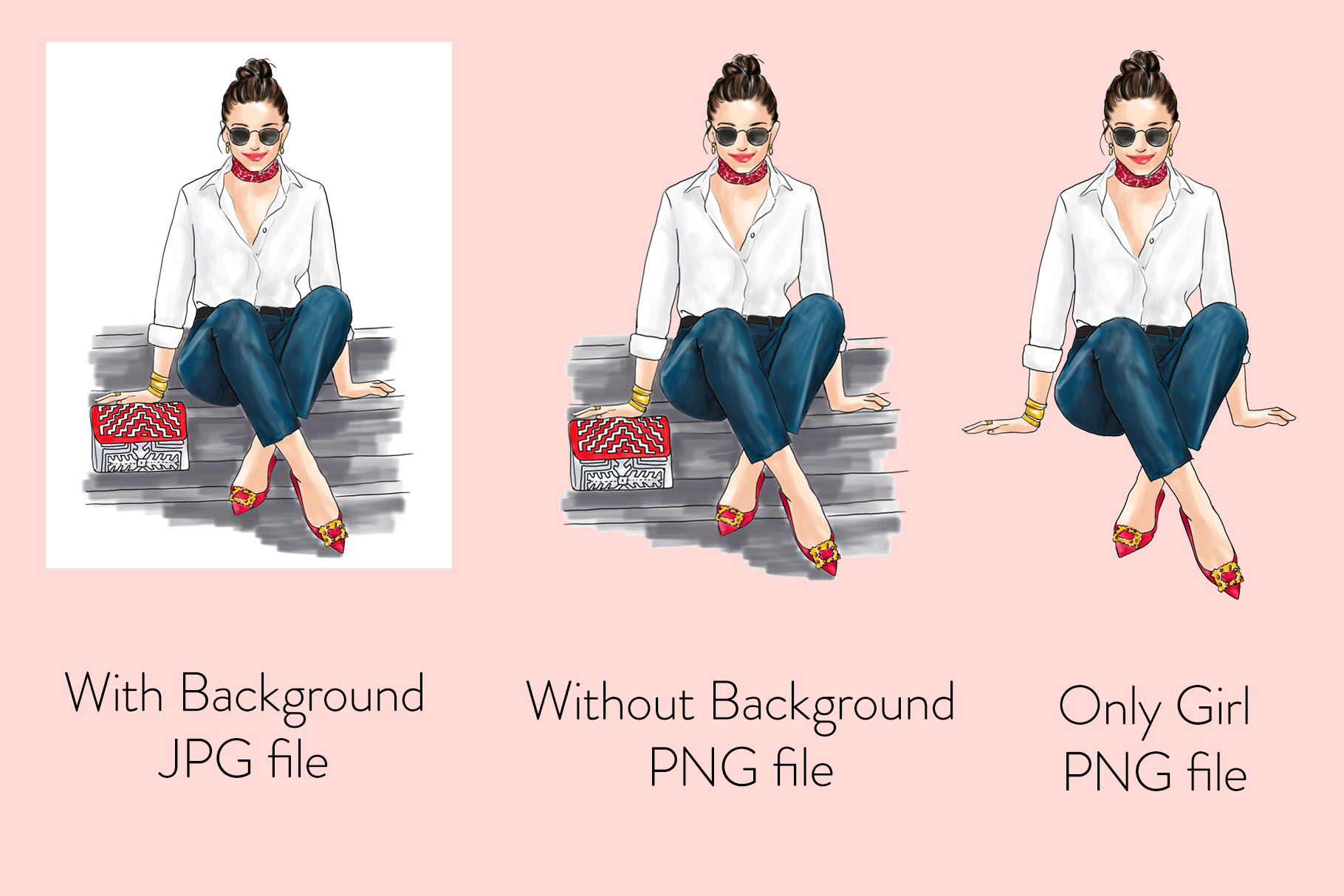 Fashion illustration - Girl in White Shirt & Jeans - Light example image 2