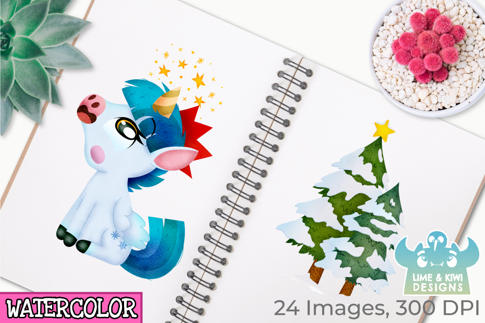 Christmas Unicorns 3 Watercolor Clipart, Instant Download example image 3