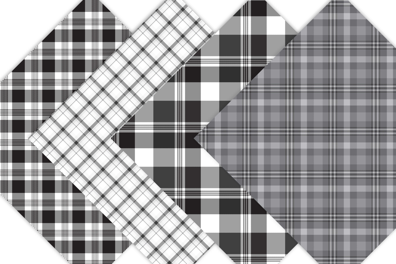 Black Plaid Digital Papers example image 4