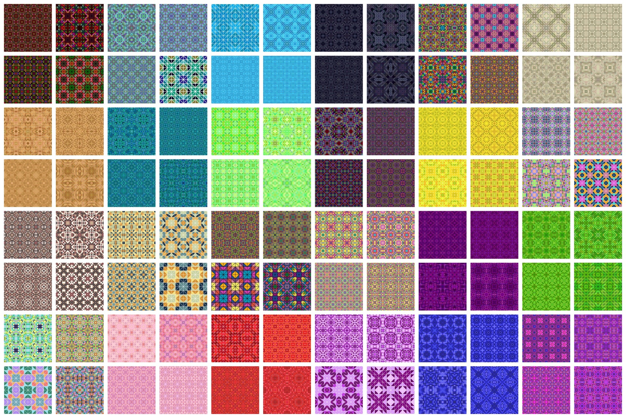 108 colorful seamless kaleidoscope triangle patterns (AI, EPS, JPG 5000x5000) example image 2
