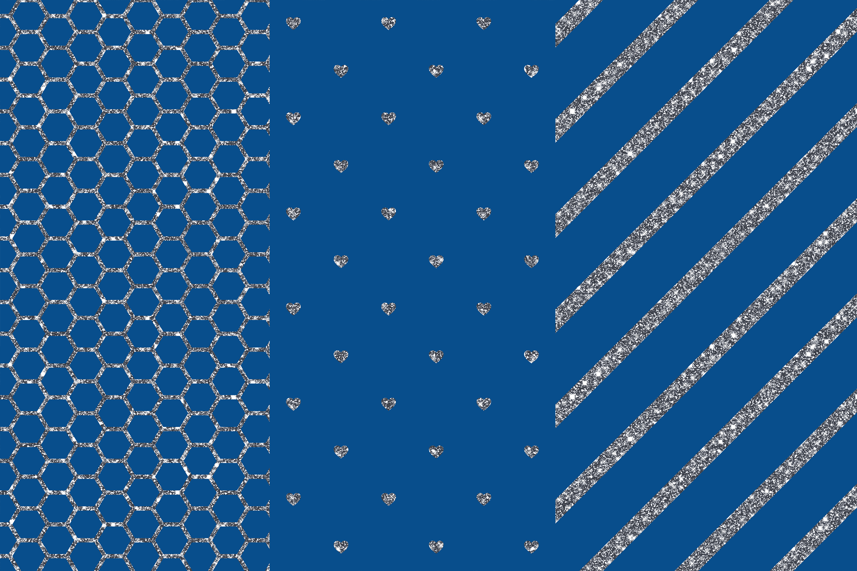 Blue Silver Digital Papers, Silver Patterns example image 2