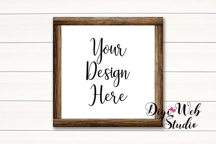 Wood Signs Mockup Bundle - 10 Wood Frames on White Shiplap example image 4