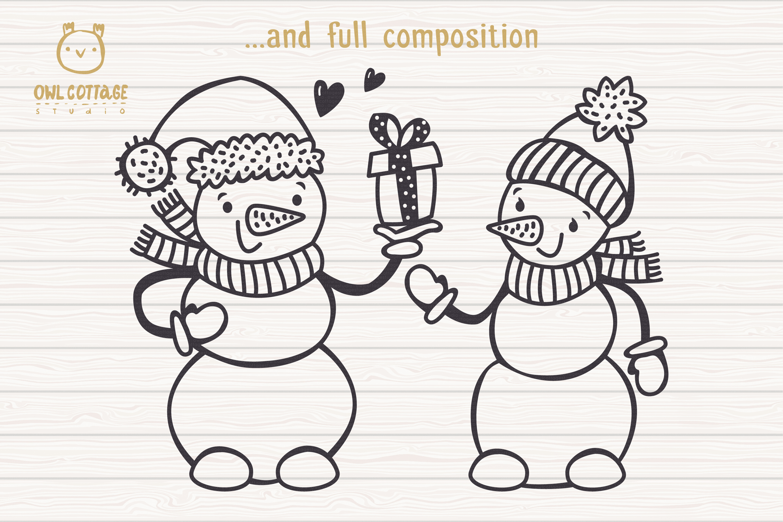 Valentine snowman, Snowman Holding gift Svg, Valentine's Day example image 5