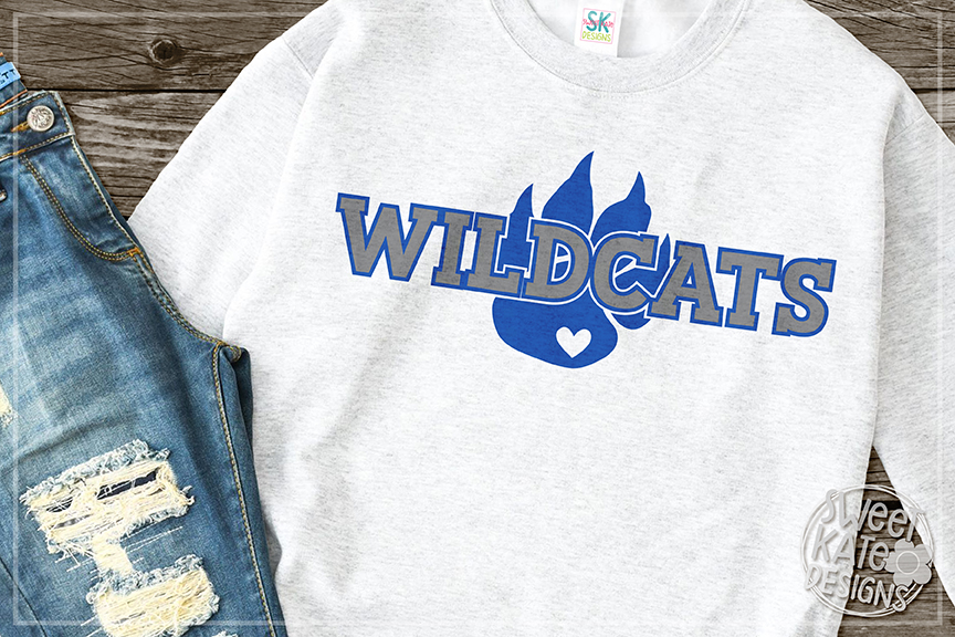 Wildcats with Paw SVG DXF EPS PNG JPG example image 1