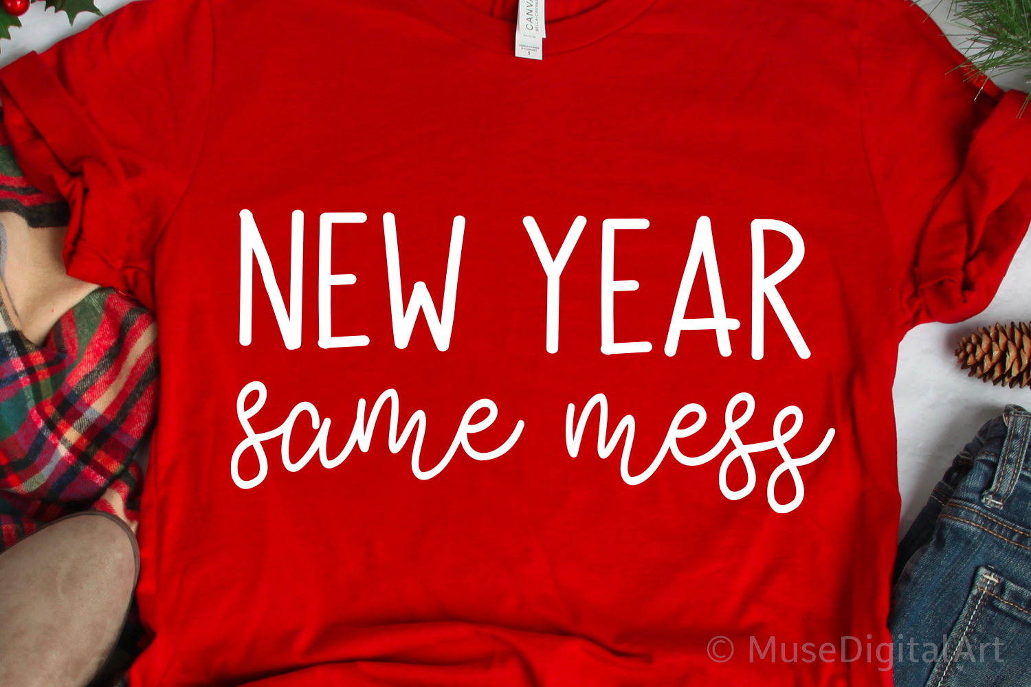 Funny New Years Svg, New Year Same Mess Svg, Svg Cut File example image 1