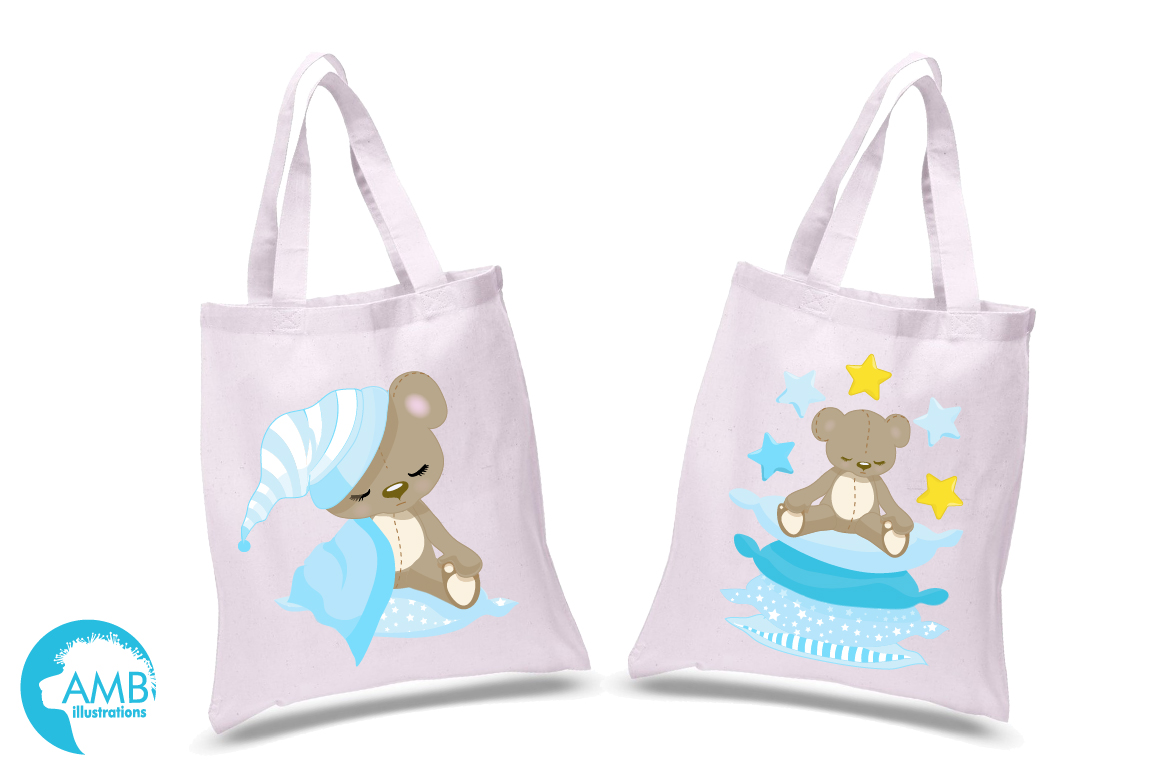 Teddy bear, nursery, baby boy, baby blue bear, clipart, graphics, llustrations AMB-980 example image 2